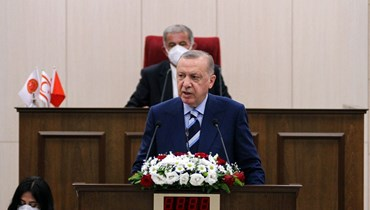 الرئيس التركي في برلمان جمهورية شمال قبرص التركية المعلنة من جانب واحد. أ ف ب