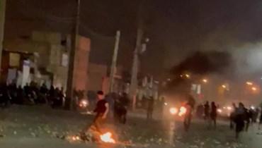 من التظاهرات الليلية في ايران