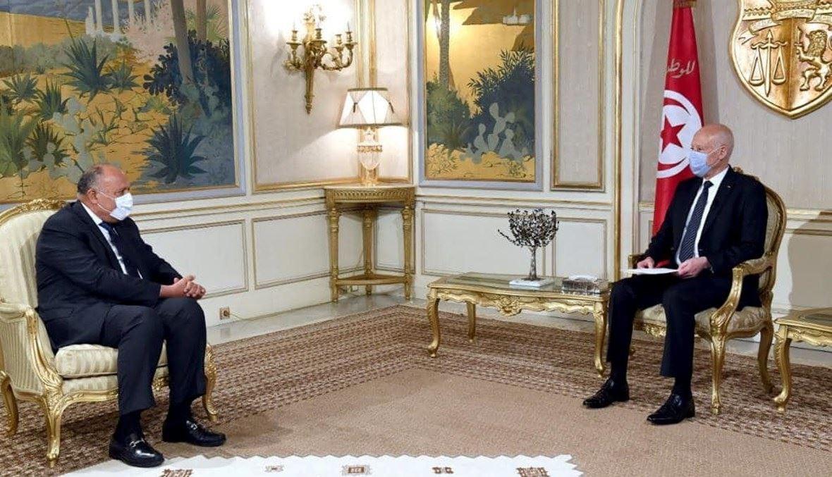 صورة للرئيس التونسي قيس سعيد ووزير خارجية مصر سامح شكري