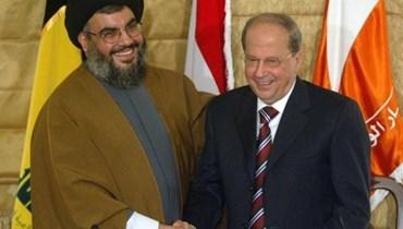 عون ونصر الله في عام 2006