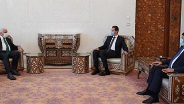 الرئيس السوري بشار الاسد ورئيس هيئة الحشد الشعبي فالح الفياض