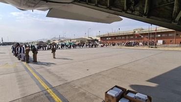 عمليات الاجلاء في مطار كابول. أ ف ب