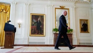 """الرئيس الأميركي جو بايدن منهياً كلمته حول أفغانستان، 16 آب 2021 - """"أ ب"""""""