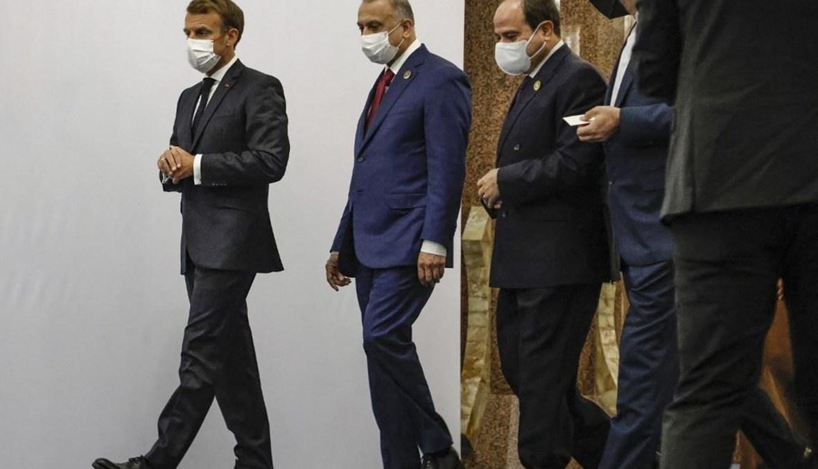 الرئيس المصري عبدالفتا السيسي ورئيس الوزراء العراقي مصطفى الكاظمي والرئيس الفرنسي إيمانويل ماكرون.أف ب