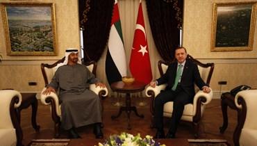 لقاء سابق بين الرئيس التركي رجب طيب أردوغان وولي عهد أبو ظبي محمد بن زايد آل نهيان