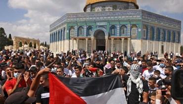 مسيرة مؤيدة للأسرى الفلسطينيين في الأقصى (ا ف ب)