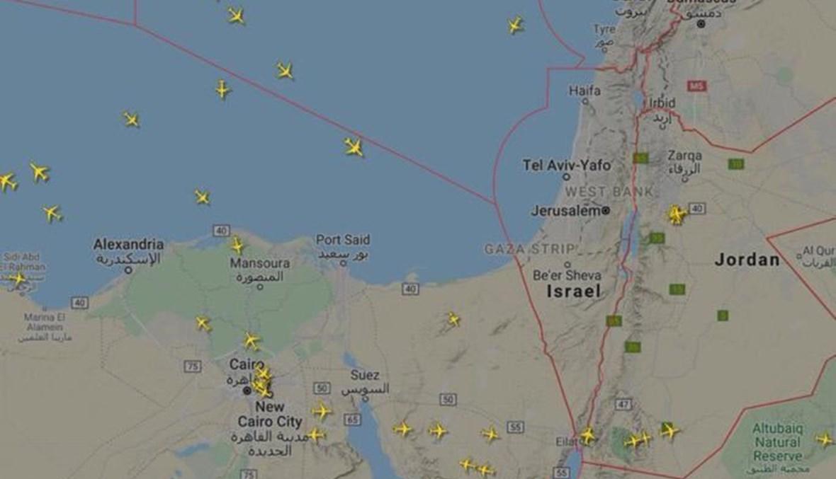 خريطة تُظهر تبدّل مسار الرحلات الجويّة الخارجيّة خلال إغلاق إسرائيل لمجالها الجوي