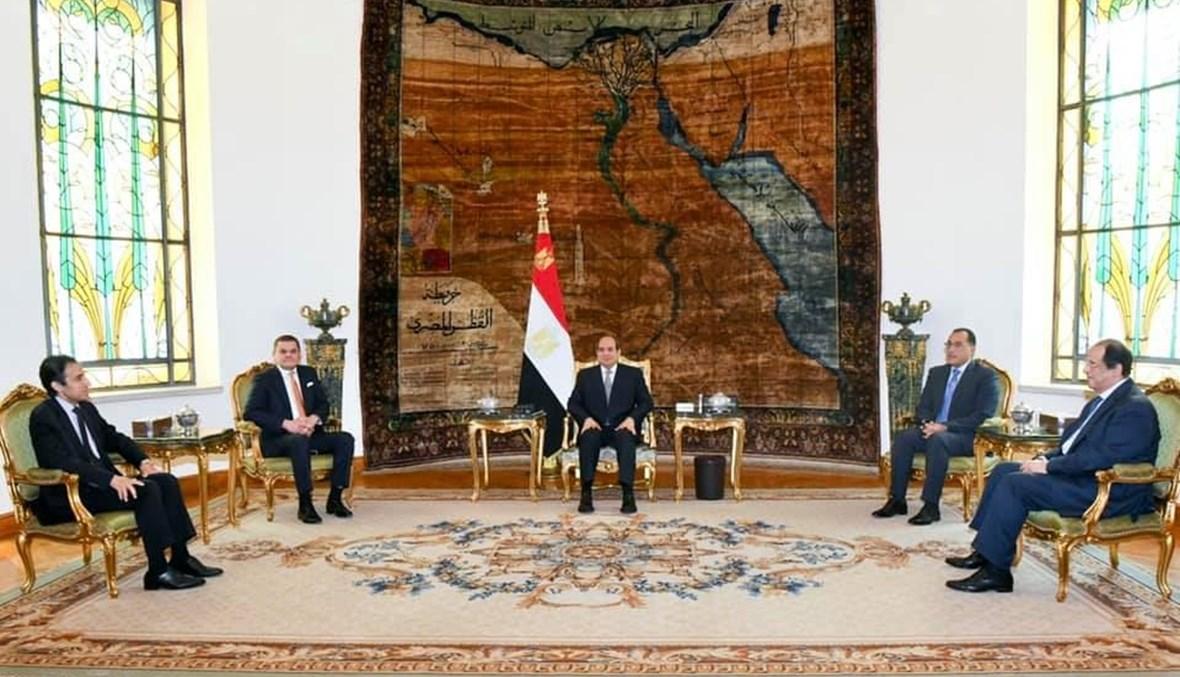 الرئيس المصري مجتمعاً مع الدبيبة والوفد الليبي
