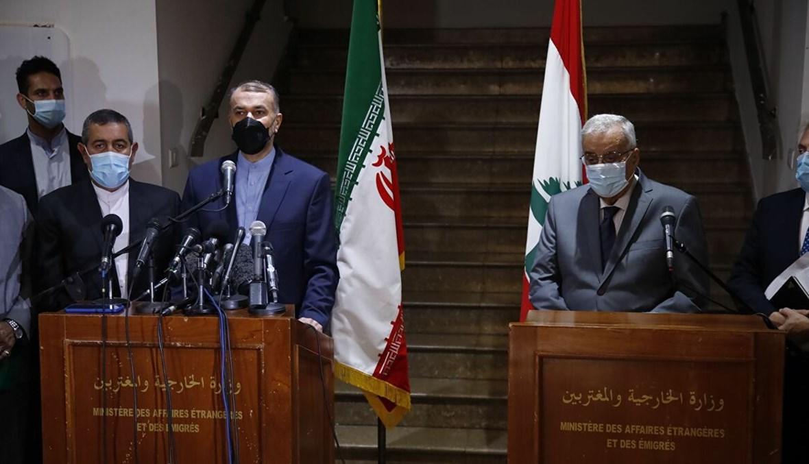 عبد اللهيان وعبدالله أبو حبيب في المؤتمر الصحافي في الخارجية اللبنانية