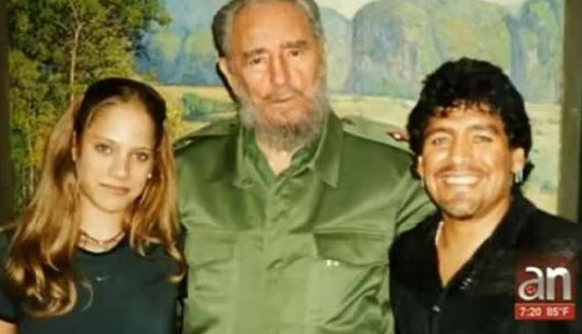مارادونا والرئيس الكوبي فيدل كاسترو وألفاريز