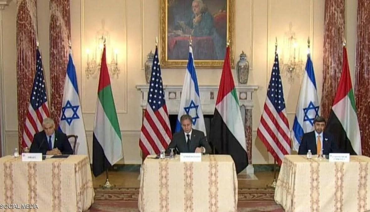 وزير الخارجية الإماراتي عبد الله بن زايد آل نهيان ونظيره الاميركي أنتوني بلينكن ونظيره الإسرائيلي يائير لابيد