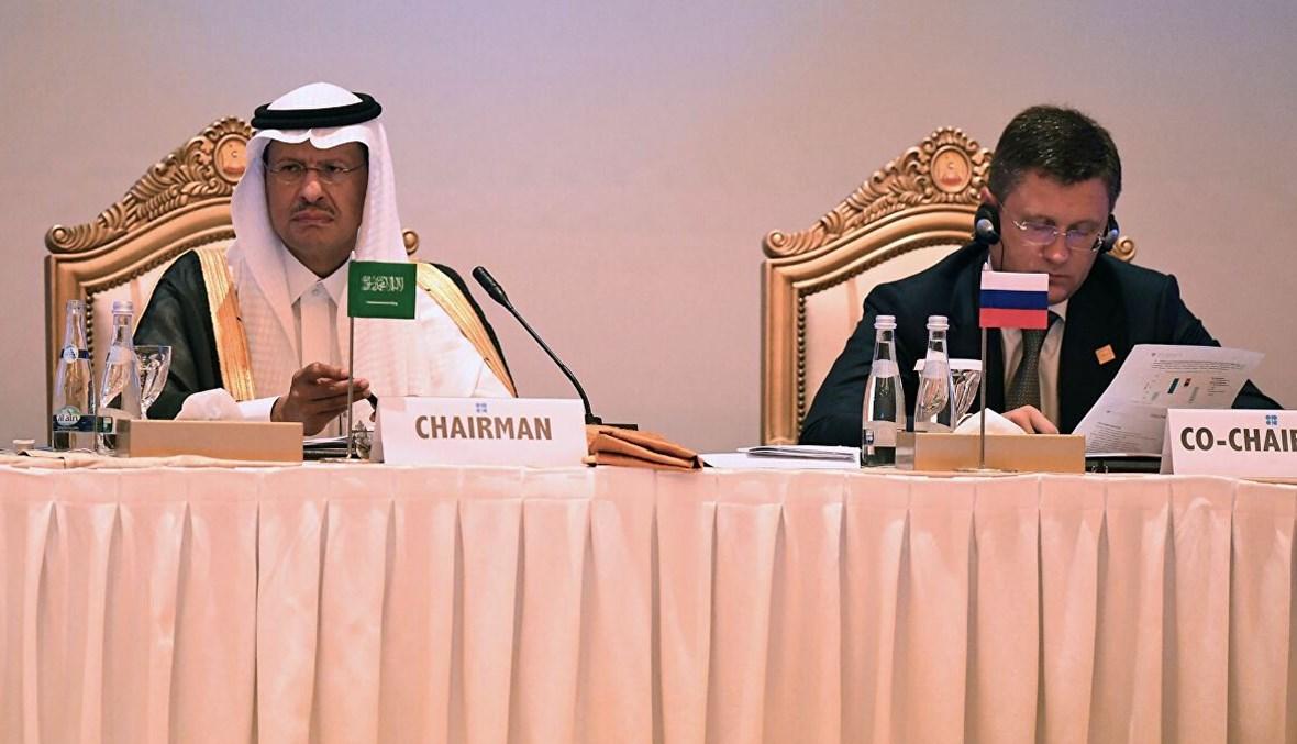نائب رئيس الوزراء الروسي ألكسندر نوفاك ووزير الطاقة السعودي عبد العزيز بن سلمان